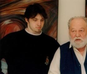 Student Radovan Šťastný a pedagog Lubor Tokoš, vernisáž 1996