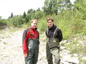 Úsměvy fluviální geomorfologie...  (dr. Tomáš Galia a dr. Václav Škarpich)<br>Autor: J. Hradecký