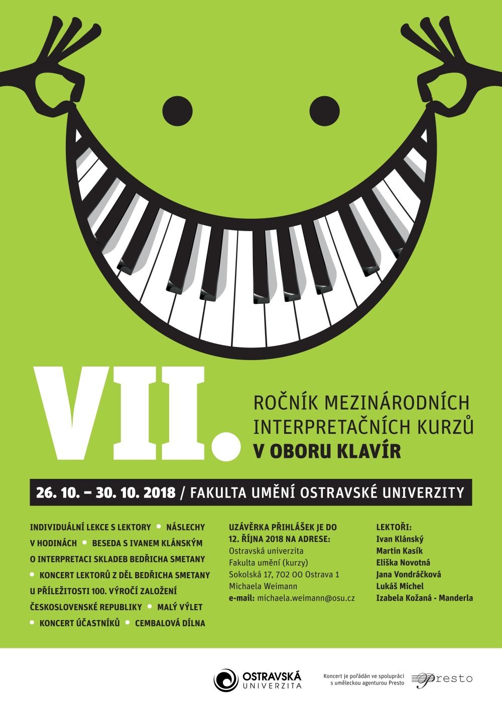 Plakáty VII. ročníku mezinárodních interpretačních kurzů v oboru klavír