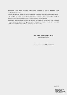 Opatření k prevenci šíření koronaviru COVID-19