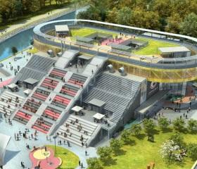 Projekt nové budovy Univerzitního zázemí sportu a behaviorálního zdraví, jejíž výstavba probíhá na Černé louce.