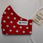 Rouška dámská - červená s puntíky